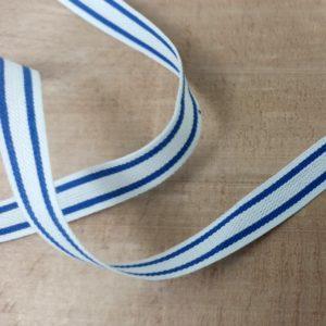 Ruban taffetas blanc à rayures bleues - GT2105/046